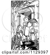Clipart Of Retro Vintage Black And White Children In A Courtyard Royalty Free Vector Illustration