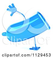 Clipart Of A 3d Blue Condom Doing A Cartwheel Royalty Free CGI Illustration