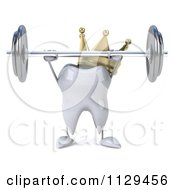 Clipart Of A 3d King Tooth Character Lifting Up A Barbell 1 Royalty Free CGI Illustration