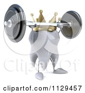 Clipart Of A 3d King Tooth Character Lifting Up A Barbell 2 Royalty Free CGI Illustration