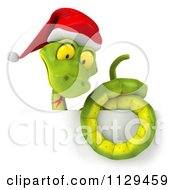 Clipart Of A 3d Green Christmas Snake Wearing A Santa Hat Over A Sign Royalty Free CGI Illustration