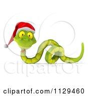 Clipart Of A 3d Green Christmas Snake Wearing A Santa Hat 5 Royalty Free CGI Illustration