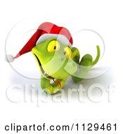 Clipart Of A 3d Green Christmas Snake Wearing A Santa Hat 6 Royalty Free CGI Illustration