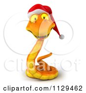 Clipart Of A 3d Orange Christmas Snake Wearing A Santa Hat 1 Royalty Free CGI Illustration by Julos
