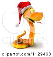 Clipart Of A 3d Orange Christmas Snake Wearing A Santa Hat 2 Royalty Free CGI Illustration by Julos