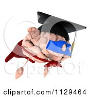 Clipart Of A 3d Super Brain Character Flying Royalty Free CGI Illustration