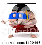 Clipart Of A 3d Super Brain Character Shrugging Royalty Free CGI Illustration