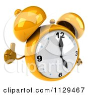 Clipart Of A 3d Yellow Alarm Clock Holding A Thumb Up Royalty Free CGI Illustration