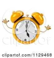Clipart Of A 3d Yellow Alarm Clock Jumping Royalty Free CGI Illustration by Julos
