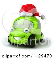 Clipart Of A 3d Green Car Wearing A Christmas Santa Hat Royalty Free CGI Illustration by Julos