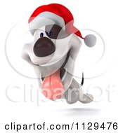 Clipart Of A 3d Christmas Jack Russell Terrier Dog Running With A Santa Hat On 2 Royalty Free CGI Illustration