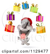 Clipart Of A 3d Christmas Jack Russell Terrier Dog With Floating Gift Boxes Royalty Free CGI Illustration