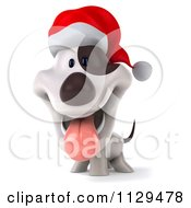 Clipart Of A 3d Christmas Jack Russell Terrier Dog Wearing A Santa Hat Royalty Free CGI Illustration