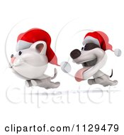Clipart Of A 3d Christmas Jack Russell Terrier Dog Chasing A Cat 2 Royalty Free CGI Illustration