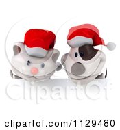 Clipart Of A 3d Christmas Kitten And Jack Russell Terrier Dog Over A Sign Royalty Free CGI Illustration