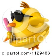 Clipart Of A 3d Chick With Sunglasses A Popsicle And Inner Tube Royalty Free CGI Illustration