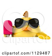 Clipart Of A 3d Chick With Sunglasses And Popsicle Holding A Sign 2 Royalty Free CGI Illustration