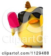 Clipart Of A 3d Chick With Sunglasses And Popsicle Holding A Sign 3 Royalty Free CGI Illustration