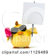 Clipart Of A 3d Chick With Sunglasses And Popsicle Holding A Sign 1 Royalty Free CGI Illustration