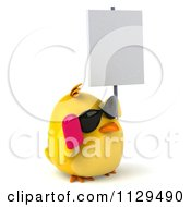 Clipart Of A 3d Chick With Sunglasses And Popsicle Holding A Sign 4 Royalty Free CGI Illustration