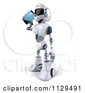 Clipart Of A 3d Techno Robot Holding A Cell Phone 2 Royalty Free CGI Illustration