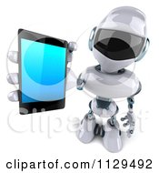 Clipart Of A 3d Techno Robot Holding A Cell Phone 3 Royalty Free CGI Illustration