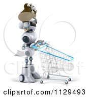 Clipart Of A 3d Pirate Techno Robot With A Shopping Cart Royalty Free CGI Illustration