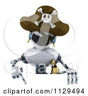 Clipart Of A 3d Pirate Techno Robot Holding A Sign Royalty Free CGI Illustration