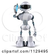 Clipart Of A 3d Techno Robot Holding A Cell Phone 1 Royalty Free CGI Illustration by Julos