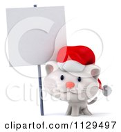 Clipart Of A 3d Christmas Kitten Wearing A Santa Hat By A Sign 2 Royalty Free CGI Illustration