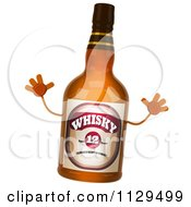Clipart Of A 3d Whisky Bottle Jumping Royalty Free CGI Illustration by Julos