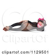 Clipart Of A 3d Reclined Female Chimp Royalty Free CGI Illustration