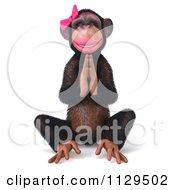 Clipart Of A 3d Female Meditating Zen Chimp 1 Royalty Free CGI Illustration
