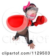 Clipart Of A 3d Female Boxing Chimp 2 Royalty Free CGI Illustration