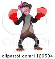 Clipart Of A 3d Female Boxing Chimp 1 Royalty Free CGI Illustration