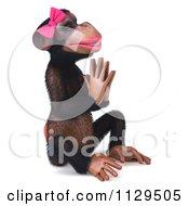 Clipart Of A 3d Female Meditating Zen Chimp 2 Royalty Free CGI Illustration