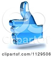 Clipart Of A 3d Blue Glass Thumb Up Icon Royalty Free CGI Illustration