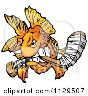 Cartoon Of An Aggressive Goldfish Biting A Hockey Stick Royalty Free Vector Clipart