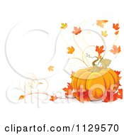 Cartoon Of A Thanksgiving Pumpkin And Autumn Leaf Background On Off White Royalty Free Vector Clipart