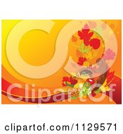 Cartoon Of A Horn Of Plenty Cornucopia Thanksgiving Background With Orange Copyspace Royalty Free Vector Clipart