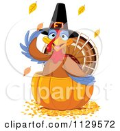 Cartoon Of A Cute Thanksgiving Turkey Bird Pilgrim In A Pumpkin Royalty Free Vector Clipart