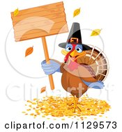 Cartoon Of A Cute Thanksgiving Turkey Bird Pilgrim Holding A Sign Royalty Free Vector Clipart