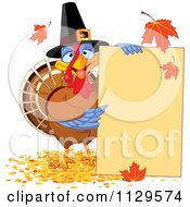 Cartoon Of A Cute Thanksgiving Turkey Bird Pilgrim Presenting A Sign Royalty Free Vector Clipart by Pushkin