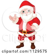 Cartoon Of A Christmas Santa Presenting Royalty Free Vector Clipart by Pushkin