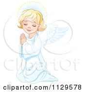 Cartoon Of A Cute Blond Angel Girl Kneeling In Prayer Royalty Free Vector Clipart by Pushkin