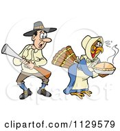 Cartoon Of A Thanksgiving Turkey Bird Disguised As A Pilgrim Shocking A Man Royalty Free Vector Clipart