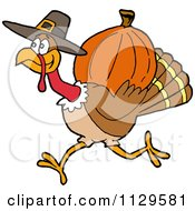 Cartoon Of A Thanksgiving Pilgrim Turkey Running With A Pumpkin Royalty Free Vector Clipart by LaffToon