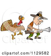 Cartoon Of A Thanksgiving Turkey Bird Sneaking Behind A Hunting Pilgrim Royalty Free Vector Clipart by LaffToon