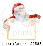 Clipart Of A Happy Santa Smiling Holding And Pointing Down At A Sign Royalty Free Vector Illustration