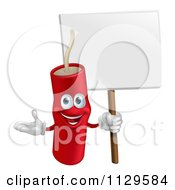 Cartoon Of A Happy Dynamite Mascot Holding A Sign Royalty Free Vector Clipart